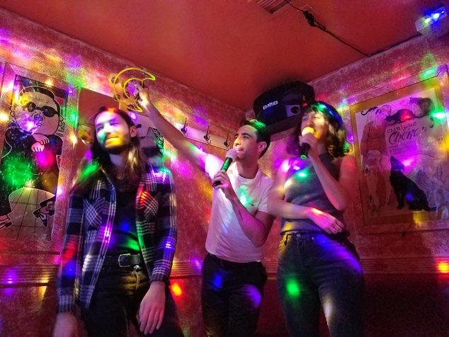 very cool people singing karaoke