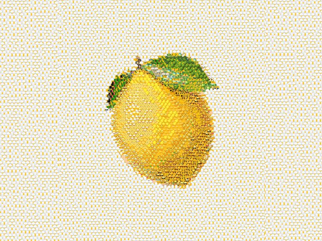 graphic of a lemon made from emojis